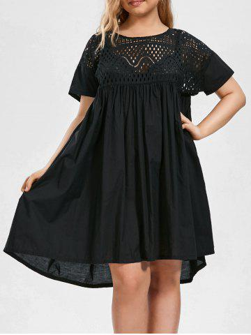 Plus Size Hollow Out Chiffon Smock Dress - Black - 4xl