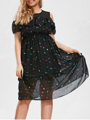 Plus Size Stars Printed Cold Shoulder Midi Ruffle Dress - Black - 4xl