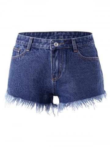 Affordable Frayed Rivet Denim Shorts - 2XL DENIM BLUE Mobile