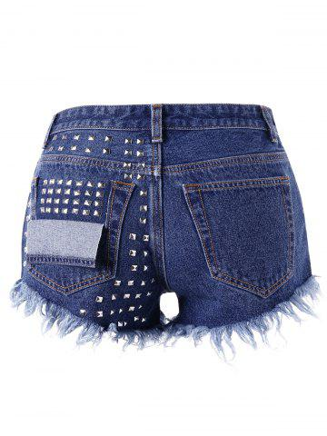New Frayed Rivet Denim Shorts - 2XL DENIM BLUE Mobile