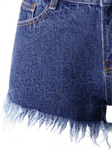 Trendy Frayed Rivet Denim Shorts - 2XL DENIM BLUE Mobile