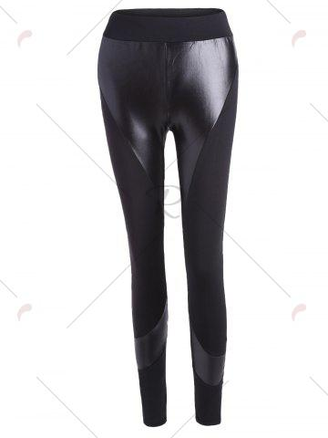 Trendy PU Insert Tight Leggings - L BLACK Mobile