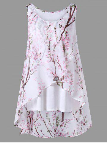 Best Plus Size Overlap Tiny Floral Sleeveless Top PINK 2XL