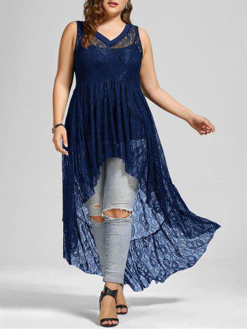 See Through Lace High Low Plus Size Top - Purplish Blue - 5xl