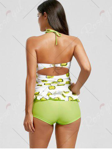 Trendy Sweetheart Tiered Skirted Tankini Set - XL GREEN Mobile