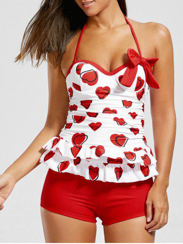 Discount Sweetheart Tiered Skirted Tankini Set RED XL