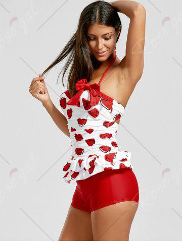 Trendy Sweetheart Tiered Skirted Tankini Set - XL RED Mobile