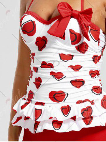 Chic Sweetheart Tiered Skirted Tankini Set - XL RED Mobile