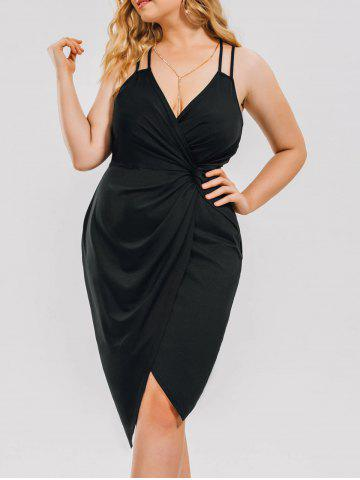 Plus Size Knot Ruched Evening Slip Dress - Black - 3xl