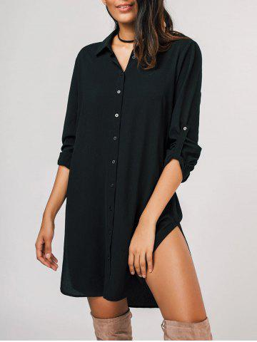 Unique Half Buttoned Curled Sleeve Shirt Dress