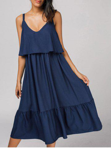 Buy Flounces Back Zipper Casual Midi Dress DEEP BLUE S