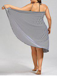 Plus Size Stripe Cover-up - BLACK STRIPE