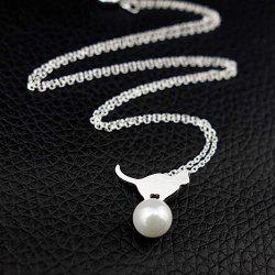 Tiny Faux Pearl Kitten Charm Necklace