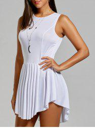 Asymmetrical Sleeveless Pleated Dress - WHITE