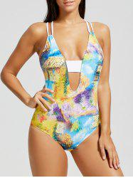 Abstract Print Backless Straps Swimwear