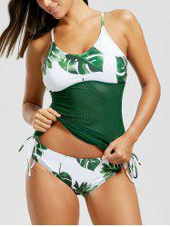 Print Fishnet Criss Cross Tankini Set - WHITE AND GREEN