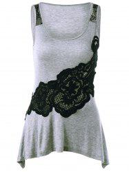 Lace Applique Tank Top - GRAY