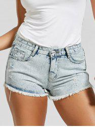Frayed Hem Destroyed Mini Denim Shorts