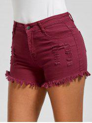Skinny Ripped Denim Frayed Hem Shorts - WINE RED