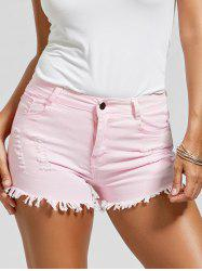 Skinny Ripped Denim Frayed Hem Shorts