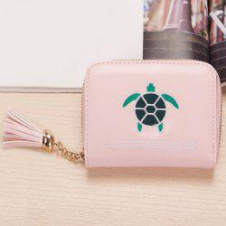 Tassel Cartoon Patch Small Wallet - PINK