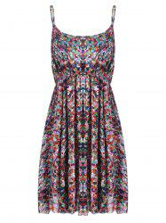 Plus Size  Elastic Waist Beach Cami Printed Dress