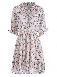 Plus Size Ruffled Chiffon Floral Skater Dress