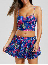 Floral Polka Dot Skirted Bikini Set