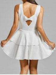 Layered Flouce Cut Out Back Tank Dress - WHITE