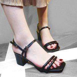Block Heel Double Belt Buckle Sandals