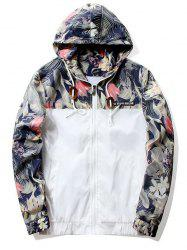 Floral Printed Zipper Fly Hooded Jacket - WHITE