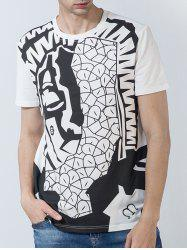 Short Sleeve Abstract Geometric Print Panel T-shirt