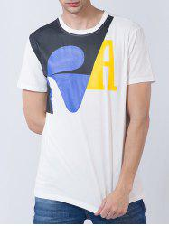 Color Block Panel Graphic Print Short Sleeve T-shirt