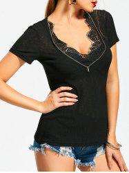 Zipper Lace Insert Short Sleeve T-Shirt