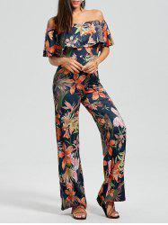 off Shoulder Flounce Floral Leaf Print Jumpsuit - FLORAL