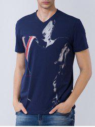 Short Sleeve 3D Graphic and Figure Print T-shirt