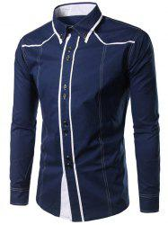 Contrast Trim Button Down Shirt - PURPLISH BLUE M