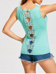 Hollow Out Butterfly Lace Back Tank Top - CLOUDY