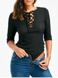 Criss Cross Lace Up Casual Bodysuit