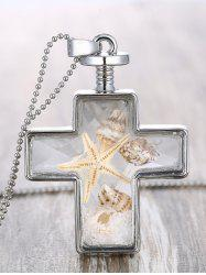 Tiny Shell Inlaid Crucifix Pendant Necklace