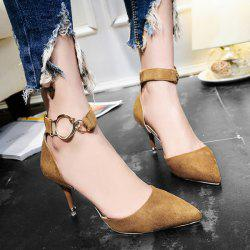 Zipper Two Piece Metal Ring Pumps - BROWN 39