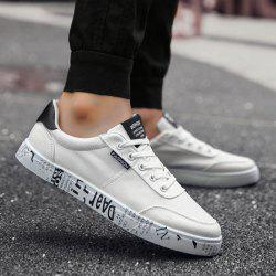 Tie Up Letter Printed Canvas Shoes - WHITE