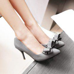 Stiletto Heel Bow Pointed Toe Pumps - GRAY