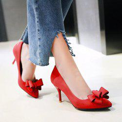 Stiletto Heel Bow Pointed Toe Pumps