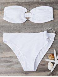 Lingerie Metal Panel Bandeau Bra Set - WHITE ONE SIZE
