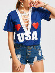 USA Heart Plunging Lattice Front Top -