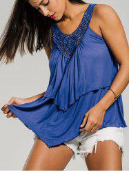 Crochet Insert Layer Flounce Tank Top