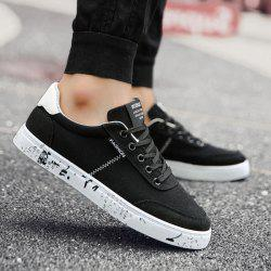 Tie Up Letter Printed Canvas Shoes