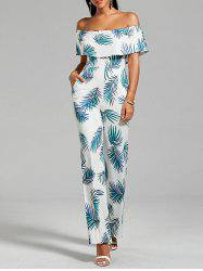 Flounce Leaf Printed Jumpsuit with Pockets