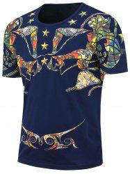 Short Sleeves Ethnic Stars Printed T-shirt